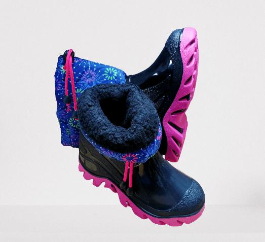 Detské gumáky zateplené, Ružovo-modré