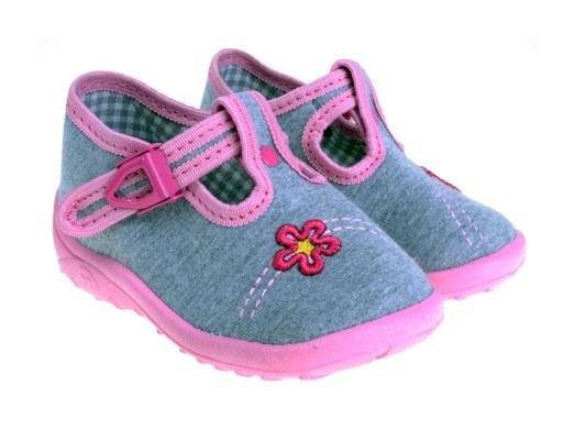 Detské papučky sivo- ružové, s ortopedickou stielkou, zapínanie na pracku
