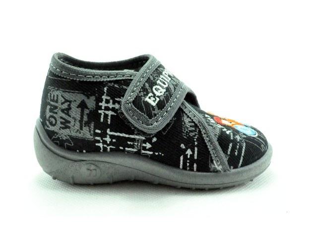 Detské textilné sandálky čierno-sivé s bagrom ,s ortopedickou stielkou, zapínanie na suchý zips