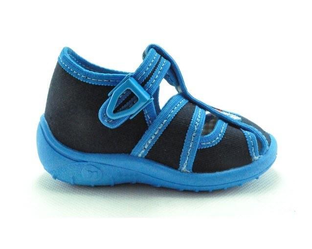 Detské textilné sandálky modré s ortopedickou stielkou, zapínanie na  pracku