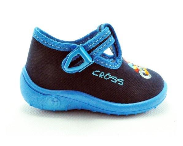 Detské papučky modré, s ortopedickou stielkou, zapínanie na pracku