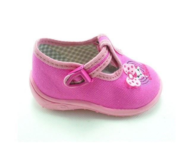Detské papučky ružové-dievčatko, s ortopedickou stielkou, zapínanie na pracku