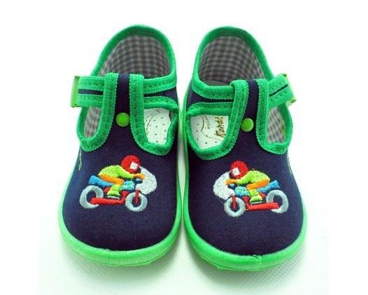 Detské papučky modro-zelené, s ortopedickou stielkou, zapínanie na pracku